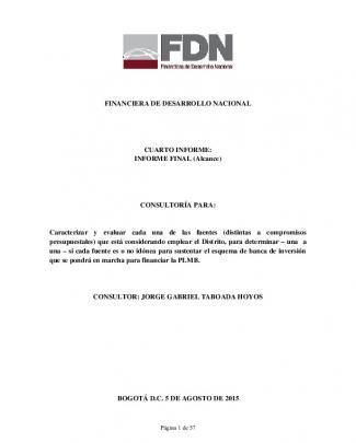 Informe Final De Análisis De Bancabilidad De Las Fuentes De