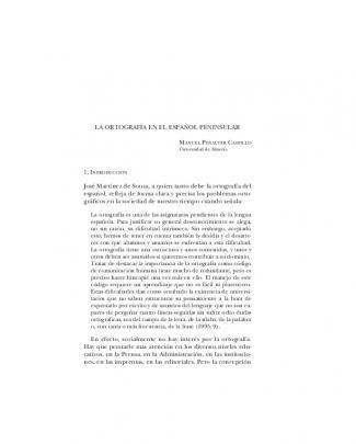La Ortografía En El Español Peninsular José Martínez De
