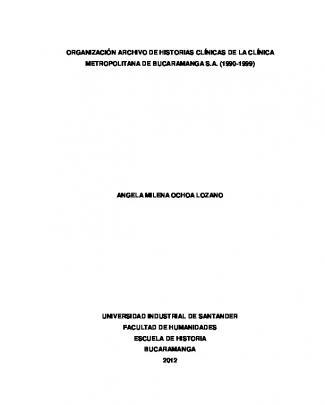 Organización Archivo De Historias Clínicas De La Clínica