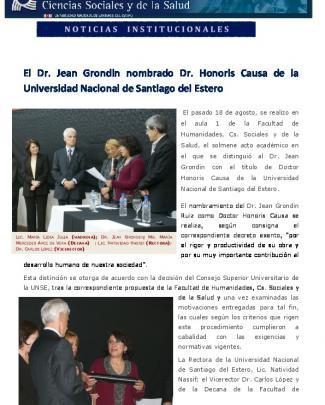 El Dr. Jean Grondin Nombrado Dr. Honoris Causa De La Universidad