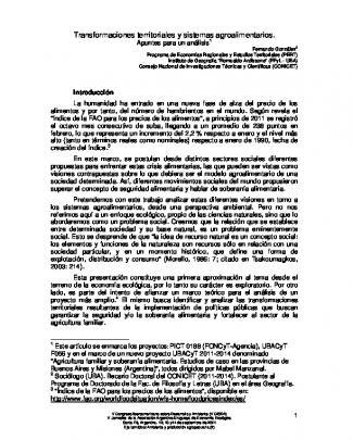 Transformaciones Territoriales Y Sistemas - Fich-unl