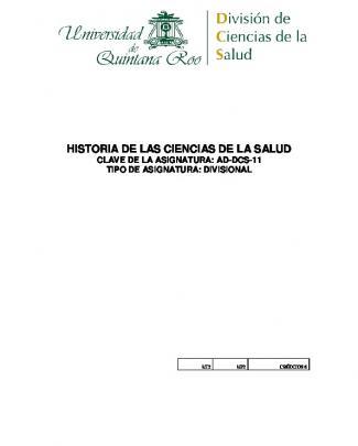 Historia De Las Ciencias De La Salud