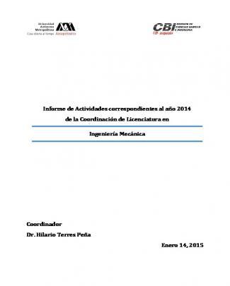 Informe Anual De Actividades Del Año 2014 - Cbi
