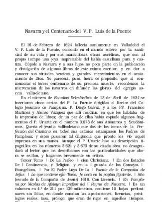 Navarra Y El Centenario Del V. P. Luis De La Puente, Por A. Pé