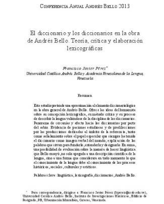 El Diccionario Y Los Diccionarios En La Obra De Andrés