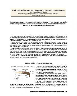 Análisis Químico De Los Recursos Fibrosos Para Pulpa