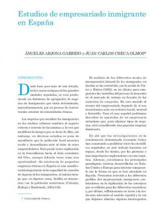 Estudios De Empresariado Inmigrante En España