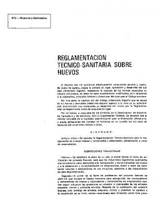 Reglamentacion Tecnico-sanitaria Sobre Huevos