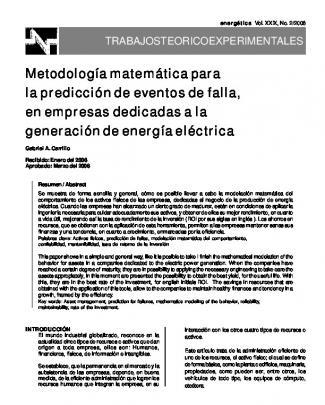 Metodología Matemática Para La Predicción De Eventos De Falla, En
