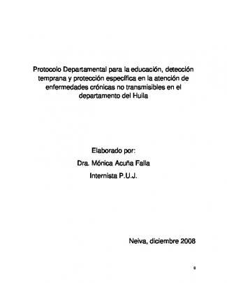 Protocolo Departamental Para La Educación, Detección Temprana Y