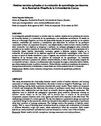 Modelos Mentales Aplicados En La Evaluación De Aprendizajes Por