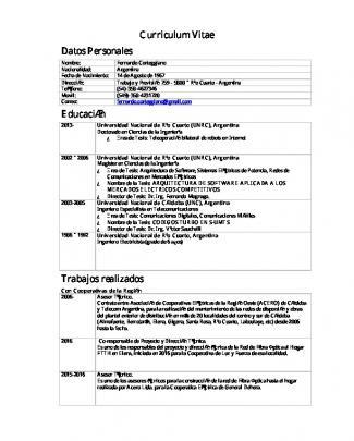Curriculum Vitae Datos Personales Educación Trabajos Realizados
