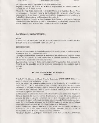 Ida A Saavedra: Según Disposición N° 150-dgtransp