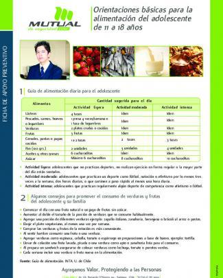 Orientaciones Básicas Para La Alimentación Del Adolescente De 11 A