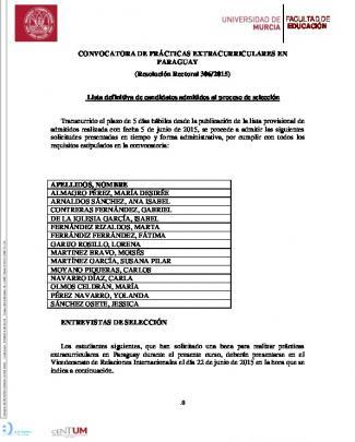 Lista Definitiva De Candidatos Admitidos Al Proceso
