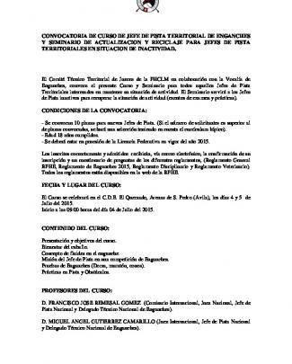 Convocatoria De Curso De Jefe De Pista Territorial De Enganches