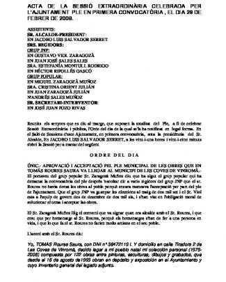 Ple Del Dia 26-02-2009 - Ajuntament De Les Coves De Vinromà