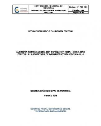 Informe Definitivo Secretaría De Infraestructura