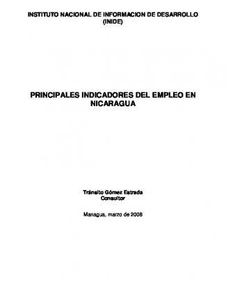 (inide) Principales Indicadores Del Empleo En Nicaragua