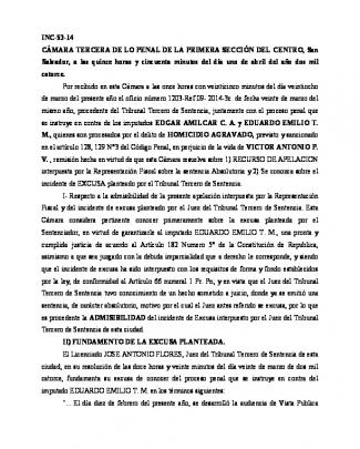 Inc-53-14 Cámara Tercera De Lo Penal De La Primera