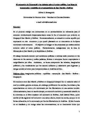 El Encuentro De Guayaquil Y Los Debates Sobre El Orden Político. Las
