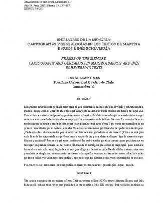 Encuadres De La Memoria - Anales De Literatura Chilena