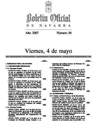 Decreto Foral 28/2007, De 26 De Marzo, Por El Que Se Regula El