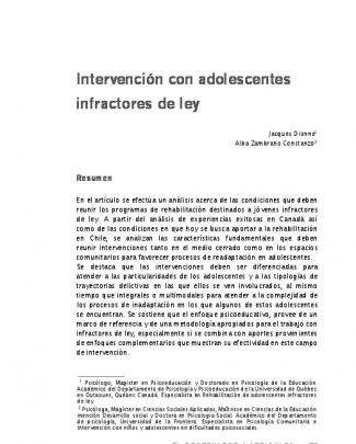 Intervención Con Adolescentes Infractores De Ley.