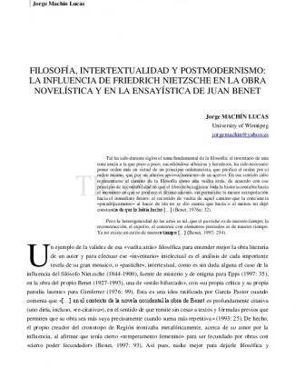Filosofía, Intertextualidad Y Postmodernismo: La Influencia De