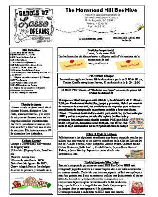 Newsletter 12-2-15 Spanish