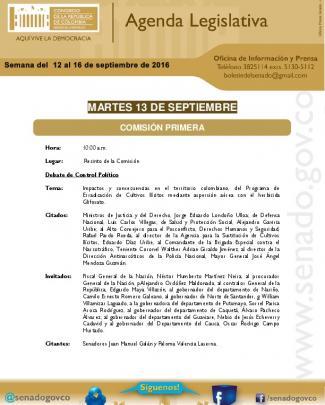 Agenda Legislativa De La Semana Del 12 Al 16 De