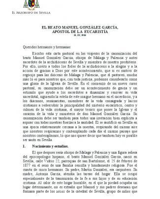 El Beato Manuel González García, Apóstol De La