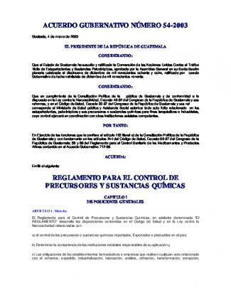Acuerdo Gubernativo Número 54-2003 Reglamento Para El