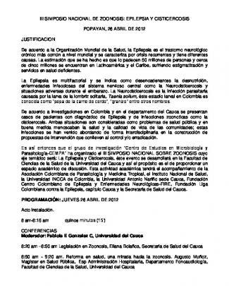 Iii Simposio Nacional De Zoonosis: Epilepsia Y