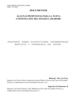 Propuesta Sobre Disposiciones Fundamentales. Municipio Y