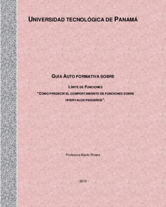 Elaboración De Guía Auto Formativa Sobre Límite De Funciones