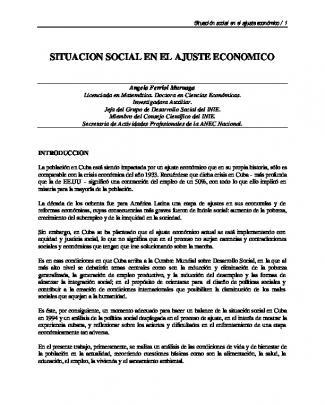 Situación Social En El Ajuste Económico
