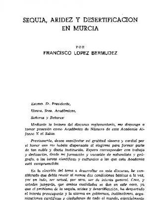 Sequía, Aridez Y Desertificacion En Murcia