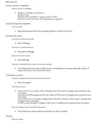 Características Técnicas Hp Scanjet 300