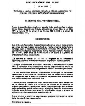 Resolución 2346 De 2007 - Fondo De Riesgos Laborales