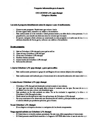 1 De 3 Prospecto: Información Para El Usuario Ciclochem 1,5% (p