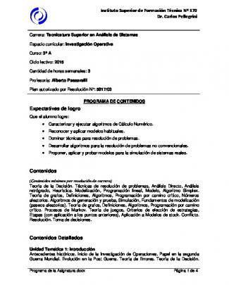 Programa De La Asignatura - Isft Nº 179 Dr. Carlos Pellegrini
