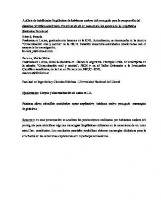 Análisis De Habilidades Lingüísticas De Hablantes Nativos Del
