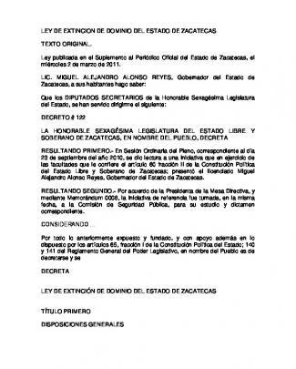 Ley De Extincion De Dominio Del Estado De