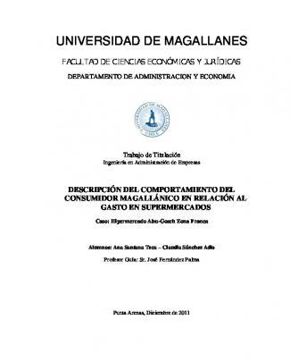Descripción Del Comportamiento Del Consumidor Magallánico En
