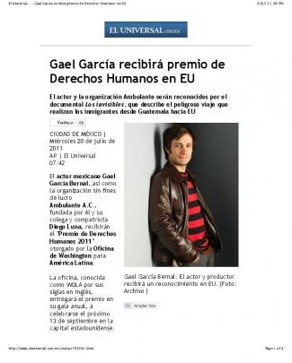 Gael García Recibirá Premio De Derechos Humanos En Eu