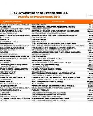 Padrón De Proveedores 2014 - Gobierno Municipal De San Pedro