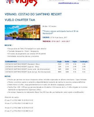 Verano: Costao Do Santinho Resort Vuelo Charter Tam