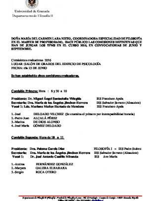 Comisiones Definitivas Que Han De Juzgar A Los Tfms En El Curso