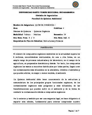Programa De Química Orgánica I - Universidad Santo Tomas De